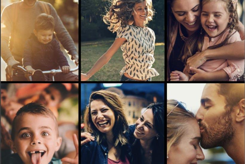 collage de fotos con persona felices
